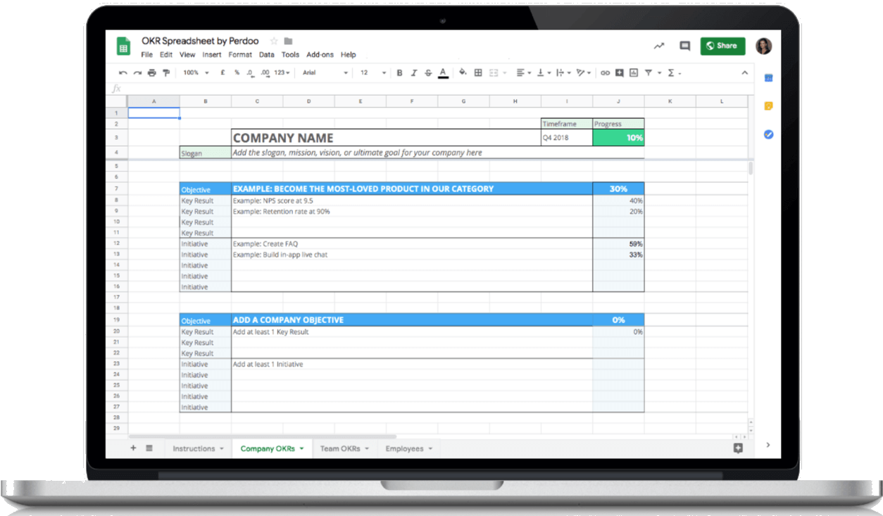 Free Okr Spreadsheet Large